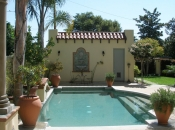 Custom landscape & hardscape, Spanish-style home, Pasadena, CA